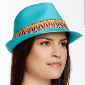 Peter Grimm Aqua Rasta Aztec Fedora Hat